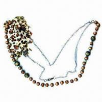 China Elegant Necklace, Made of Metal Chain and Plastic Bead, Decorated with Organza Fabric wholesale