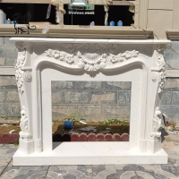 China Marble Fireplace Louise XIV French Surround Freestanding Fireproof Stone Carving wholesale