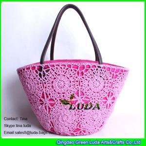 China LUDA new designer handbags cotton mesh beach bags wheat staw tote shoulder bag on sale