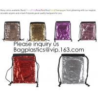 China Fashion Bling Sublimation Magic Sequin Drawstring Backpack Bag,Glitter Mermaid Flip Sequin Bag Outdoor Shoulder Reversib on sale