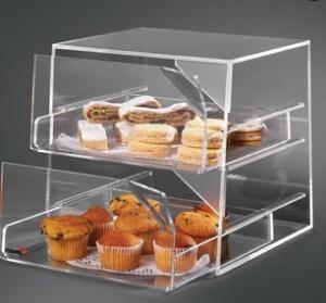 China Cast Acrylic Bakery Display Case Rack Showcase With 2 Sliding Trays wholesale