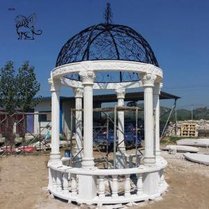 China BLVE White Marble French Gazebo Garden Pavilion Natural Stone Roman Column Handcarved wholesale