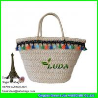 China LDYP-009 high quality macrame decoration women summer cornhusk made natural straw beach bag on sale