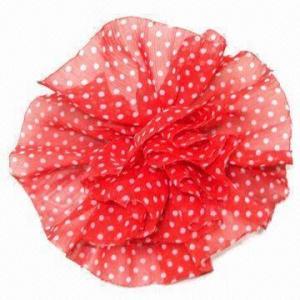 China Fashion chiffon polka dot flower brooch with brooch pin at back wholesale