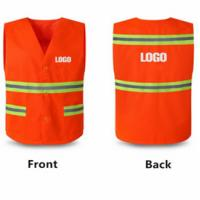 China Red Color PPE Hi Vis Safety Vest Polyester Fabric Safety Reflective Vest on sale