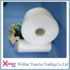 China 100%  Spun Polyester Raw White Yarn 50  / 2 Raw White Virgin PPSF Yarn on sale
