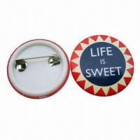Buy cheap Tin Button Badge in Pantone Color, Customized Sizes and Shapes are Accepted from wholesalers