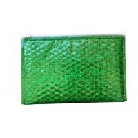 China Waterproof Zipper Bubble Bags / Green Metallic Glossy Holographic 300x250mm Ziplock Foil Bubble Mailers on sale