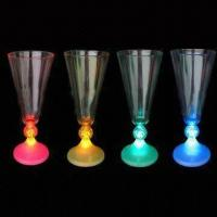 China Flashing Champagne Glasses with Switch, Three LED Lights and 170mL Capacity wholesale