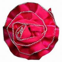 China Rose brooch, made of satin, with silver ball at edge, available in various colors wholesale