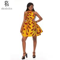 China OEM Retro Inspired Style African Attire Dresses / 100% Cotton Wax Print Dresses wholesale