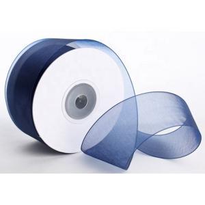 China 1 . 5 Inch Plain Polyester Organza Ribbon Dark Blue / Red Color Satin Edge wholesale