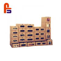 China Customized Kraft Paper Cardboard Shoe Storage Boxes With Clear PVC Window wholesale