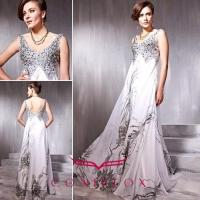 China low v-neck sequined quinceanera dresses,  shiny pattern quinceaanera dresses wholesale