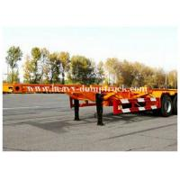 China 3 Axles 20 / 40foot flatbed trailer / skeletal trailer with 12 pcs container twist , flatbed truck trailers wholesale