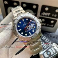China Perfect Replica Rolex Yachtmaster Blue Dial Stainless Steel Bezel Oyster Band Watch wholesale