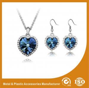 China Stylish Zinc Alloy Jewelry Sets Gold Plated Blue Jewellery Sets Heart Shape wholesale