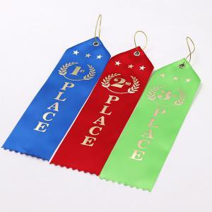 China Logo Printing Custom Award Ribbons 100% Polyester Material Single Face wholesale