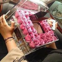 China Wedding decoration acrylic flower display container / clear acrylic rose box with lid wholesale