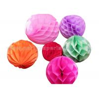 Plain Color Round Honeycomb Decorations Paper Balls For Party , Home Decoration