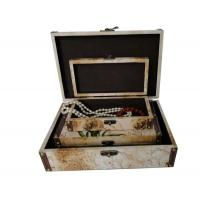 China PU Leather Covered Decorative Trunk Box Wooden Storage Boxes / Bins For Gift , Embossing / Hot Stamping on sale