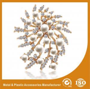 China Korean Handmade Metal Brooches Crystal Rhinestone Flower Brooches wholesale