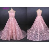 China Pink Halter Backless Sleeveless Lace Wedding Dress Removable Tail Bridal Gown wholesale