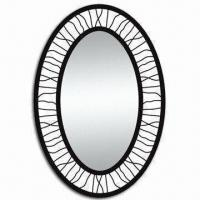 China Oval Metal Framed Mirror, Ideal for Bathroom, Various Colors and Sizes are Available wholesale