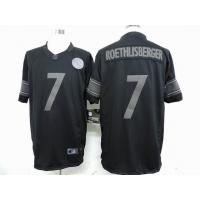 China nike nfl Pittsburgh Steelers 7 Roethlisberger black drenched jersey wholesale