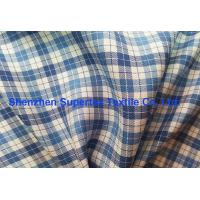 China Blue Twill Plaid Printed Silk Fabric In Yarn Dyed For Shirts And Dress Garment wholesale