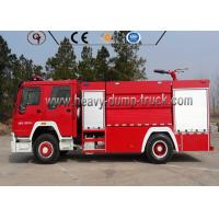 LHD 8t Firefighter Truck , Red Color Fire Fighting Equipment Manual Transmission Type