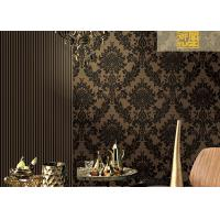 China Floral Soundproof Thick Velvet Damask Wallpaper , Non Woven Wallcovering European Style wholesale