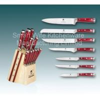 China Stainless steel kitchen knife set with wooden block wholesale