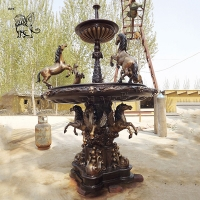 China Large Bronze Fountain Modern Art Brass Animal Garden Water fountains With Horse Statues wholesale