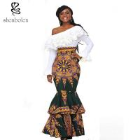 China african design dresses Off The Shoulder African Batik Print Dress For Women wholesale
