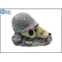 China Air Operated Skull Fish Tank Ornaments , Aqua Resin Ornaments For Decorating on sale