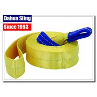 China Professional Vehicle Tow Straps With Eyes , Tow Truck Wheel Straps 75mm Width wholesale