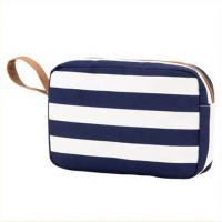 China Printed Blue White Striped Canvas Women Storage Makeup Bags Cases wholesale