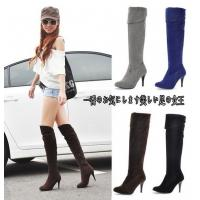 China stiletto knee boots PU nubuck lady shoes wholesales on sale