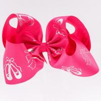 China Big Hair Bow Ribbon Rose Red Color 100% Polyester Material 4 Inch Width wholesale