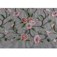 China Gray Polyester Flower 3D Embroidered Lace Fabric By The Yard For Lady Dress wholesale