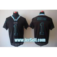 China Nike NFL Carolina Panthers 1 Newton lights out black elite jersey wholesale