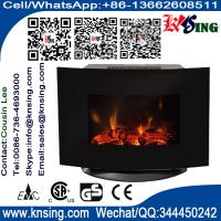 China Black Curved Tempered Glass Wall Mounted Electric Fireplace Heater LED flame log decoration room heater EF-11B/EF-11D wholesale