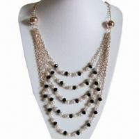 China Necklace, Made of Plastic Pearls and Glass Beads, Various Designs are Available on sale