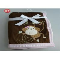 China Cartoon Animal Premium Minky Baby Blanket Embroidered Reversible Knitted on sale