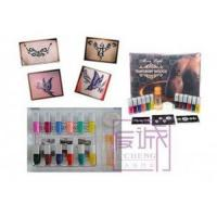 China Body Art Temporary Glitter Tattoo Kit with 12 Colors Tattoo Ink on sale
