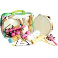China Wooden Kids Musical Instrument , Seven Pieces Pink Hand Percussion Set wholesale