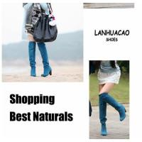 China New arrival Women lady blue high thick heel party knee boots shoes US5-8 BO17 on sale