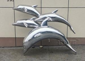 China BLVE Stainless Steel Dolphins Statues Metal Animal Sculpture Outdoor Garden Decoration wholesale