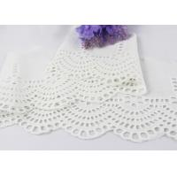 China White Floral Scalloped Embroidered Lace Trim , Venice Eyelet Bridal Lace Ribbon wholesale
